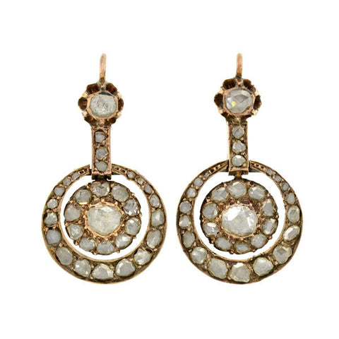 Early Victorian 14kt Rose Cut Diamond Earrings 2.25ctw