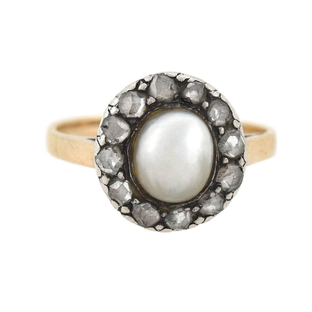 Victorian 15kt/Sterling Natural Pearl + Rose Cut Diamond Cluster Ring
