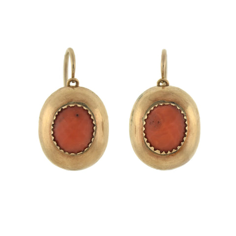 Victorian 15kt Faceted Coral Teardrop Day + Night Earrings