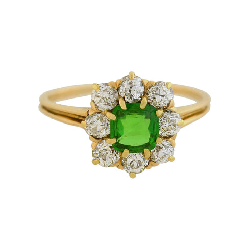 Victorian 14kt Demantoid Garnet + Diamond Cluster Ring 0.65ct center