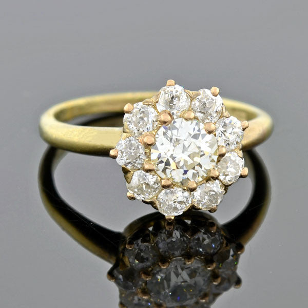 Victorian 18kt Diamond Cluster Ring 1.60ctw