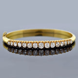 Victorian 18kt Gold & Mine Cut Diamond Bangle Bracelet 3.00ctw