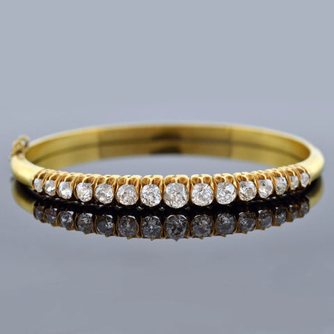 Victorian Pearl Gold Filled Etruscan Bangle Bracelet