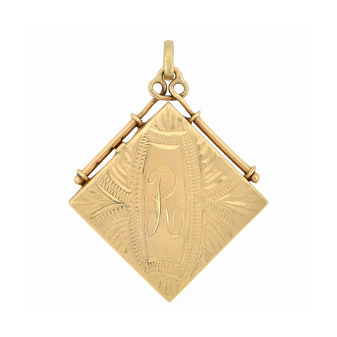 Victorian 14kt Yellow Gold Square Etched Locket Pendant