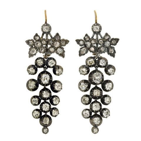 Victorian Sterling & 14kt Gold Pietra Dura Earrings