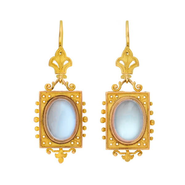 Victorian 14kt Etruscan + Moonstone Dangle Earrings