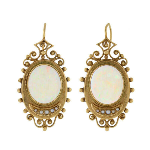 Victorian 14kt Etruscan White Opal & Seed Pearl Earrings