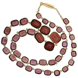 Victorian 14kt Faceted Garnet Link Collar Necklace 15.5