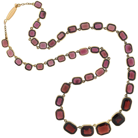 Victorian 14kt Faceted Garnet Link Collar Necklace 15.5""