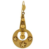 Victorian 15kt Gold Moon & Stars Dangling Earrings