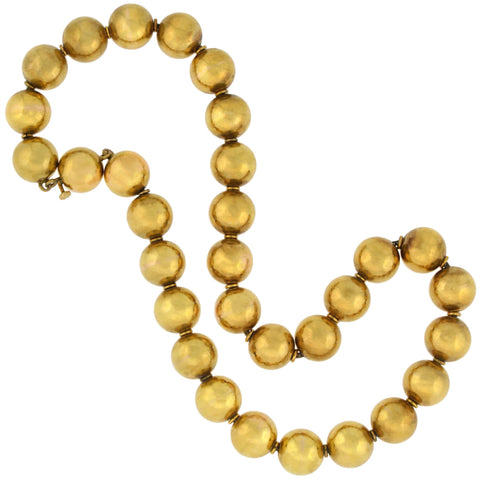 Victorian Rare 15kt Yellow Gold Large Bead Necklace 16.25""