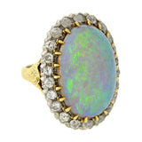 Victorian 14kt Sterling 20ct Opal & Diamond Ring