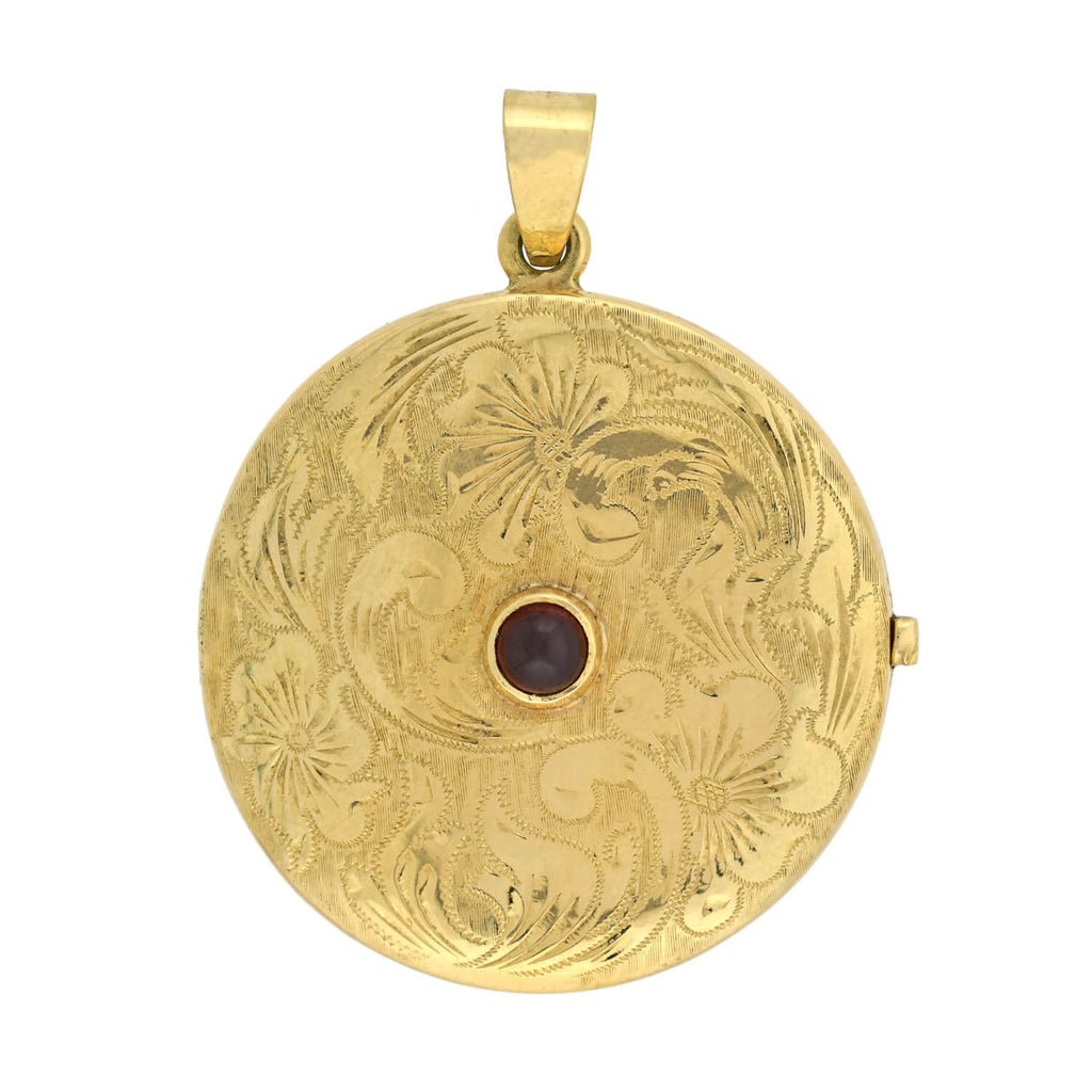 Victorian Large 14kt Etched Gold + Cabochon Garnet Locket