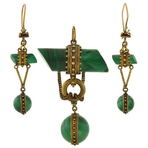 Victorian 15kt Onyx & Enameled Dangling Earrings