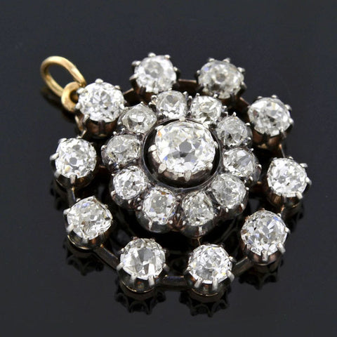 Victorian Silver & 14kt Diamond Cluster Pendant 2.65ctw