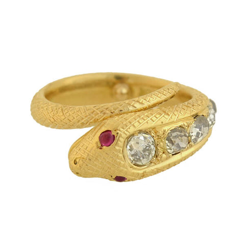 Victorian 18kt Gold Diamond + Ruby Snake Ring 1.35ctw
