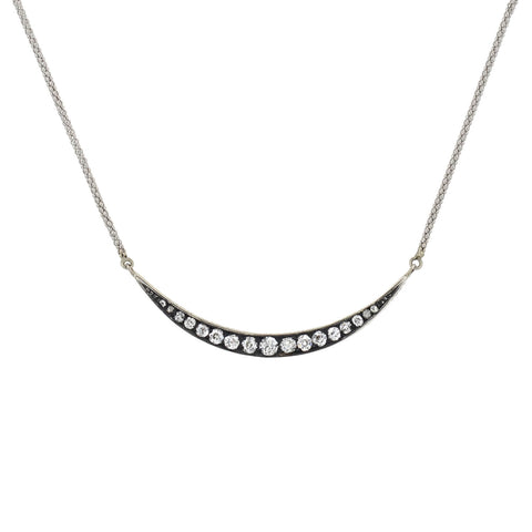 Edwardian 18kt/Sterling Diamond Sliver Crescent Pendant Necklace 0.75ctw