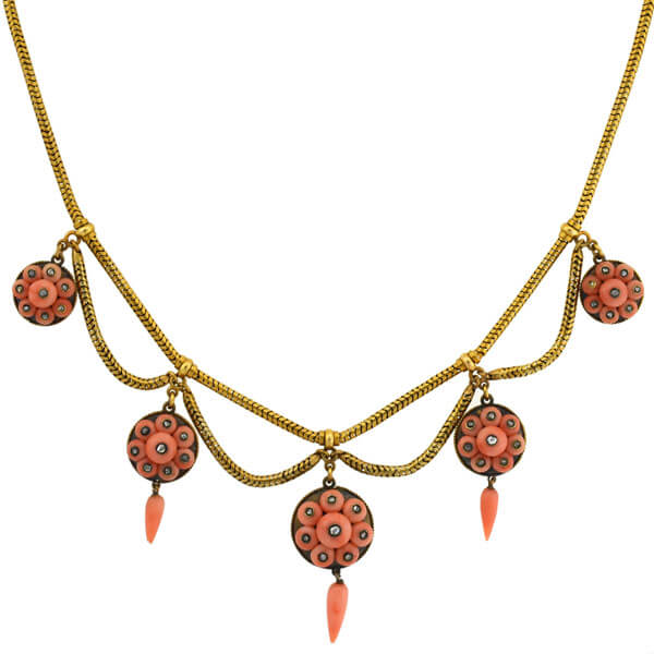 Victorian 15kt Natural Coral Diamond Festoon Necklace