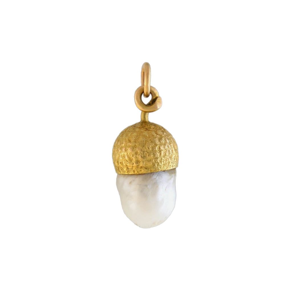 Victorian 14kt Natural Pearl Acorn Charm Pendant