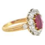 Edwardian 18kt Natural Untreated Burma Ruby Diamond Cluster Ring 1.20ct