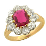 Edwardian 18kt Natural Untreated Burma Ruby & Diamond Ring 1.15ct