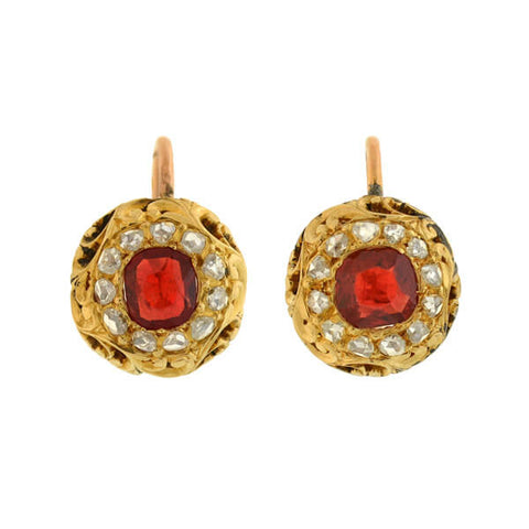 Victorian 14kt Natural Red Spinel Rose Cut Diamond Earrings
