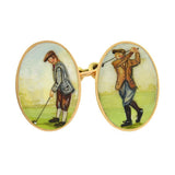 Victorian 15kt Enameled Golf Motif Double-Sided Cufflinks