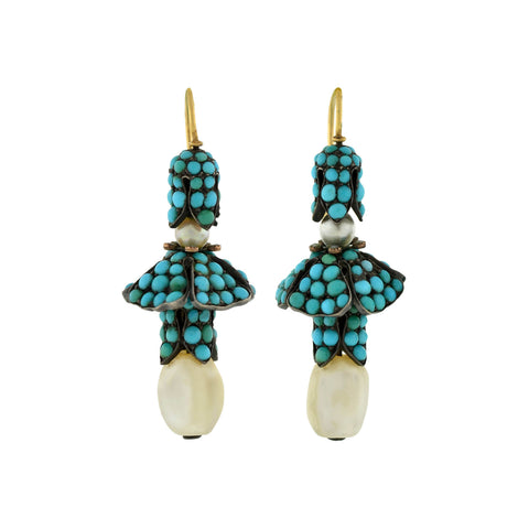 Victorian 14k Sterling Pavé Turquoise + Pearl Earrings