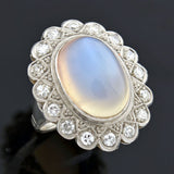 Victorian Revival Retro 14kt Large Moonstone Diamond Cluster Ring