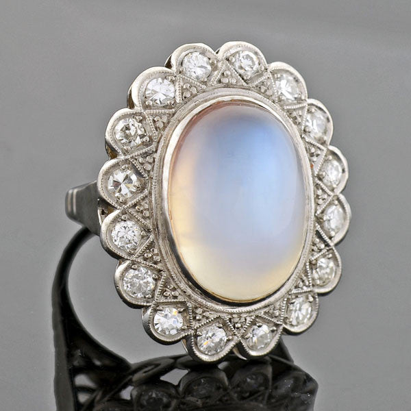 Victorian Revival Retro 14kt Large Moonstone & Diamond Ring