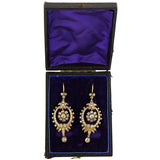 Victorian 18kt Dramatic 2.50ctw Rose Cut Diamond Earrings