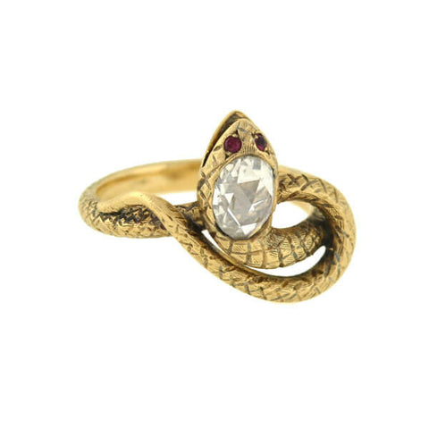 Victorian 15kt Gold & Diamond Double Snake Ring