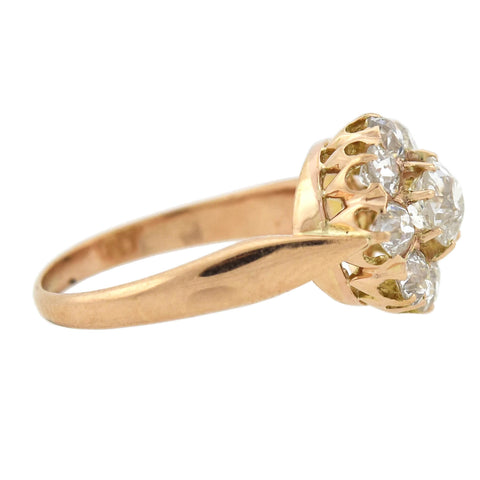Victorian 18kt Rose Gold Diamond Cluster Ring 1.00ctw
