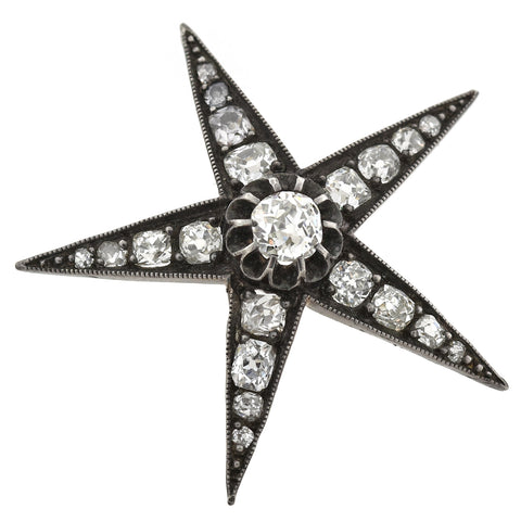 Victorian Sterling/14kt Diamond Star Pendant 3.50ctw