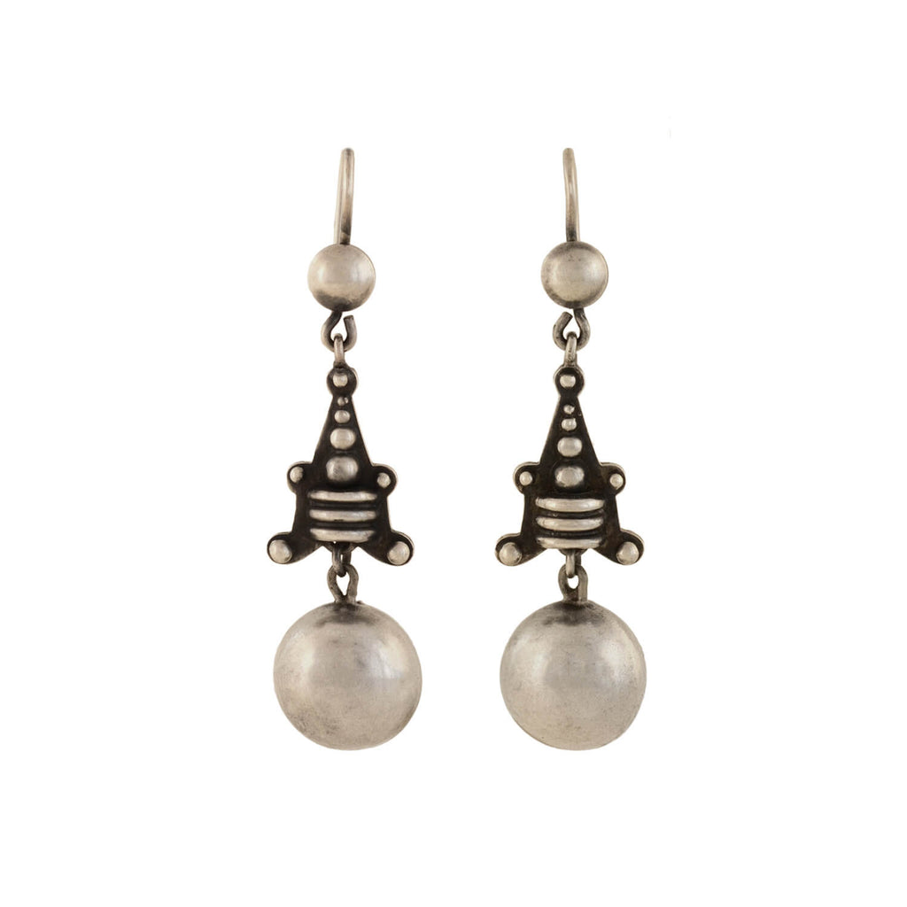 Victorian Sterling Silver Beaded Motif Earrings