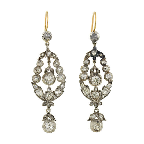 Victorian Sterling/14kt Diamond Teardrop Earrings 2.25ctw