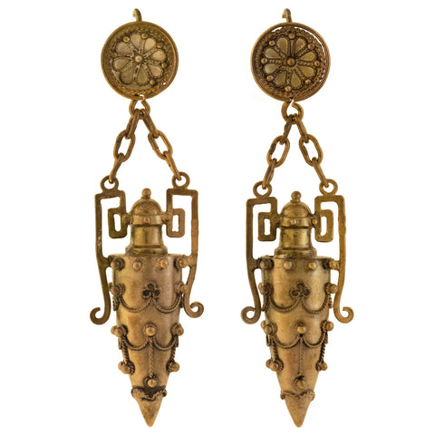Victorian French Sterling Gilt Etruscan Urn Earrings + Perfume Pendant Set