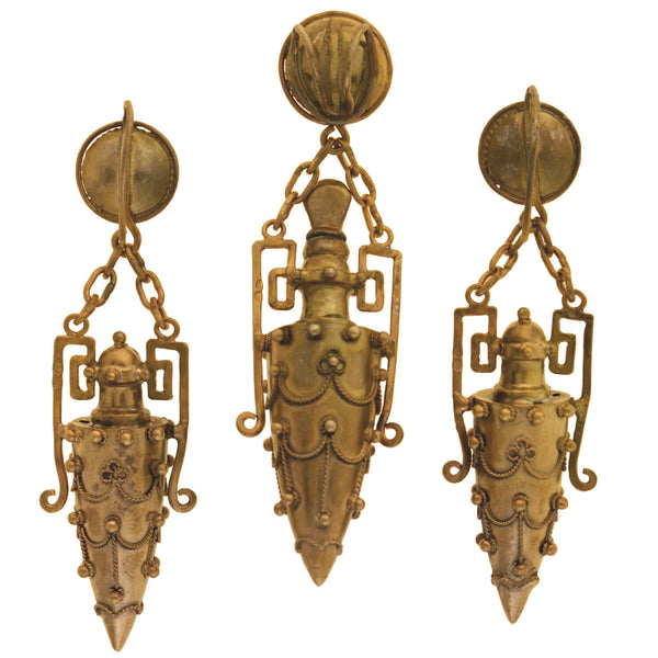 Victorian French Sterling Gilt Etruscan Urn Earrings Perfume