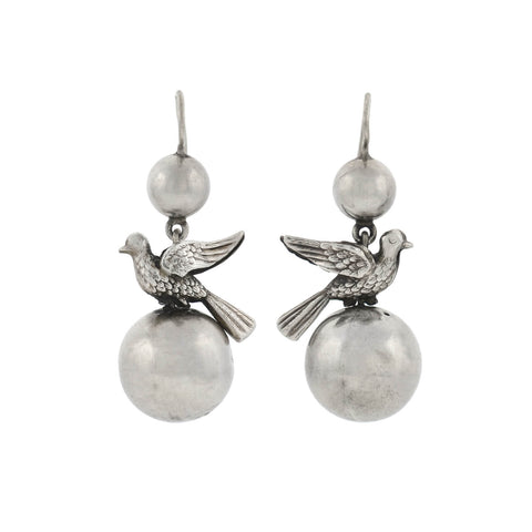 Victorian Sterling Silver Peace Dove Earrings