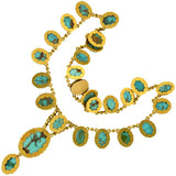 Victorian 15kt Natural Turquoise Drop Collar Necklace