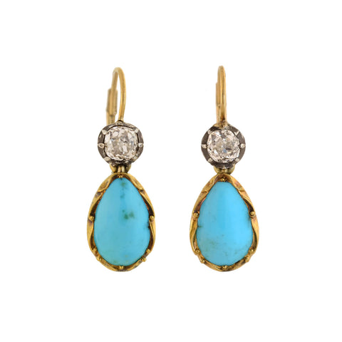 Victorian Sterling 14kt Diamond + Persian Turquoise Teardrop Earrings