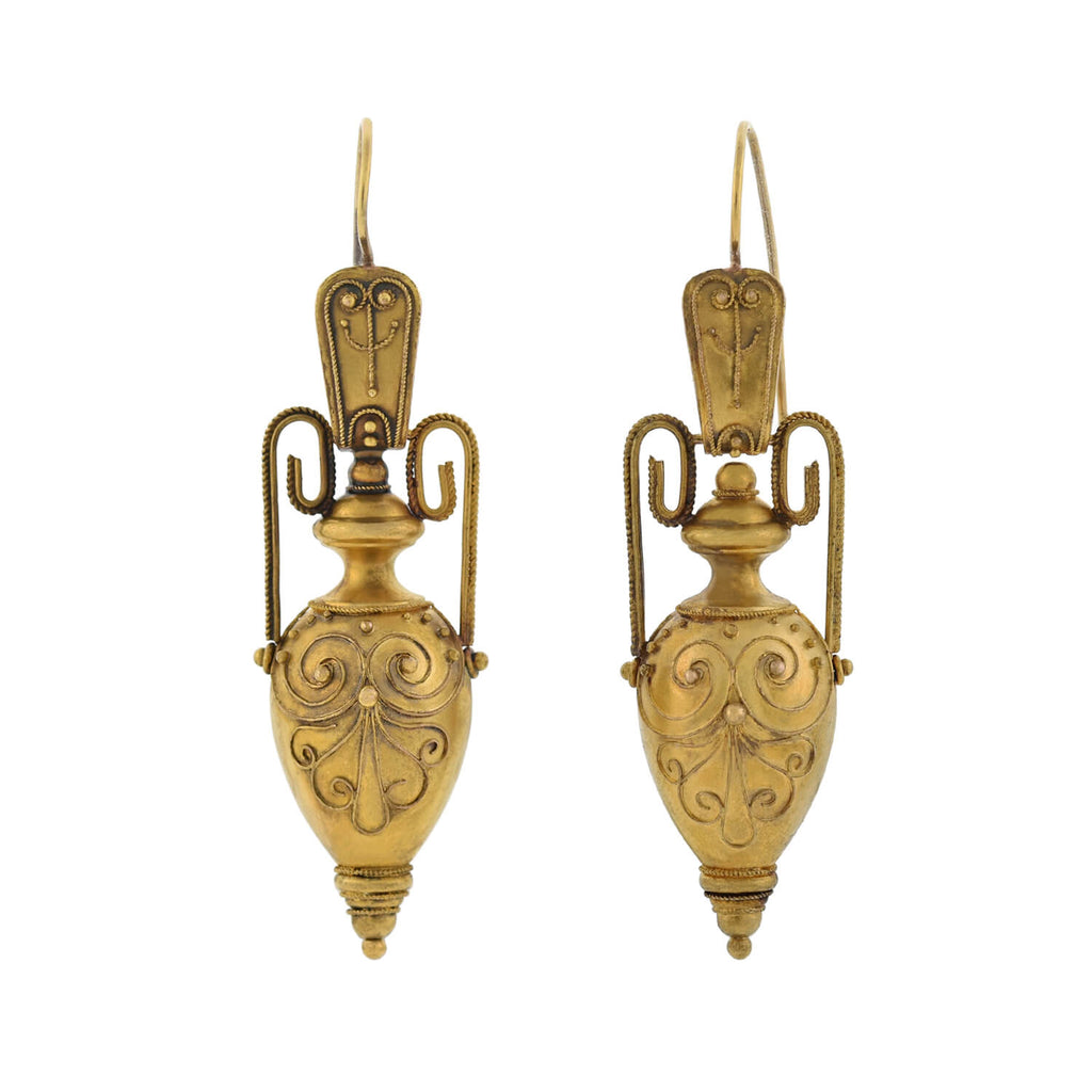 Victorian 15kt Etruscan Hanging Urn Earrings