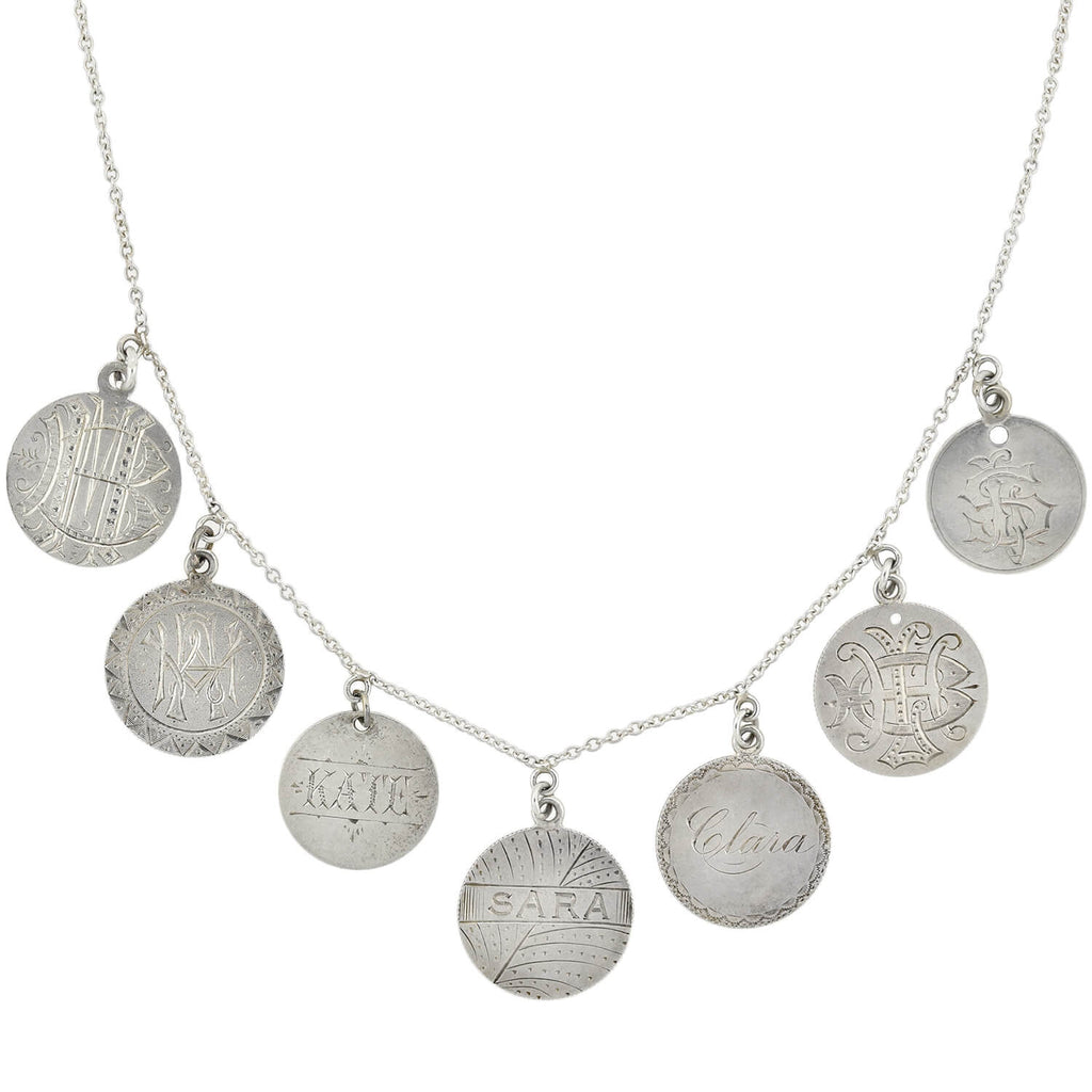 Victorian Sterling Silver Love Token Coin Compilation Necklace