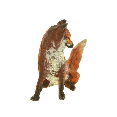 Victorian Viennese Bronze Miniature Painted Fox Figurine
