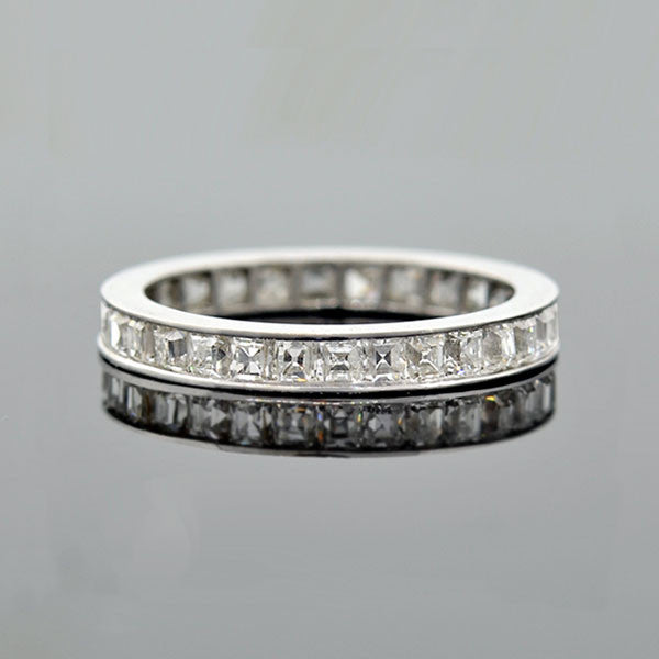 Art Deco Platinum Square Fancy Cut Diamond Eternity Band 2.25ctw
