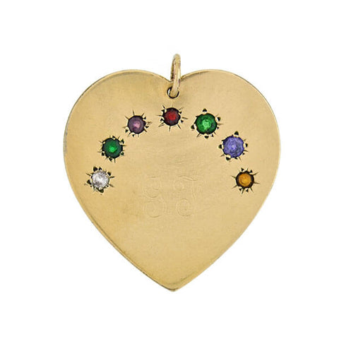 "Vintage Gold-Filled & Gemstone ""DEAREST"" Heart Pendant"