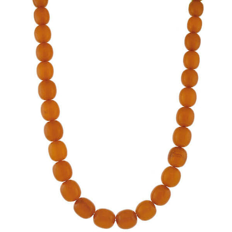 Vintage Large Graduating Amber Bead Necklace 29""