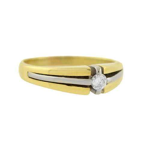Late Art Deco 14kt Two Tone Diamond Ring 0.12ctw