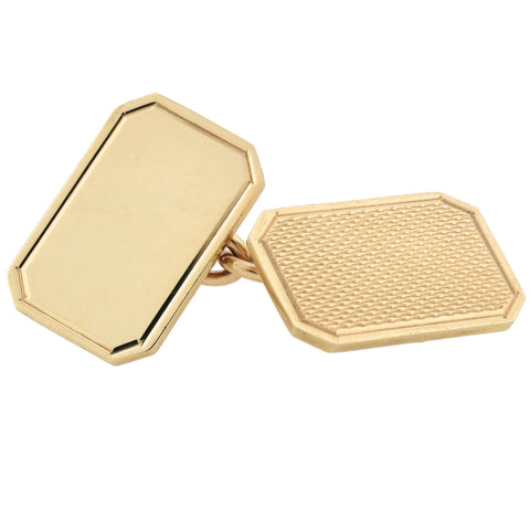 ASPREY Vintage 9kt Gold Double-Sided Cufflinks in Original Box