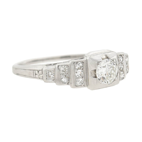 "Art Deco 18kt Diamond ""Step Up"" Engagement Ring 0.37ct center"
